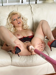 Slutty blonde Lana using a fuck machine on her mouth and pussy