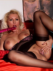 Leggy Lana Cox sensually massages her body exploring herself with her oils before finishing herself off with a big pink dildo