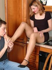 Kinky dude cant help fervently fondling yummy feet clad in silky pantyhose