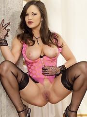 Brunette busty stocking babe Charlotte