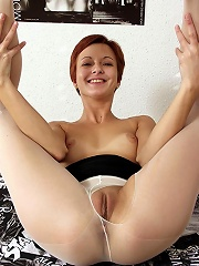 redhead horny babe shows off tight pussy